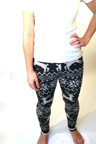 Recycled cotton pants for women, reindeer