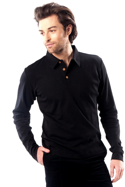 Men's long-sleeved Polo Shirt in organic cotton from Ethos Paris, in Ebony