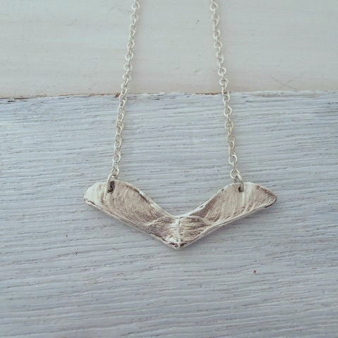 Double Maple Seed Samara Necklace - recycled silver