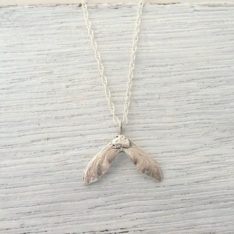 Tiny Maple Seed Necklace - Recycled Silver