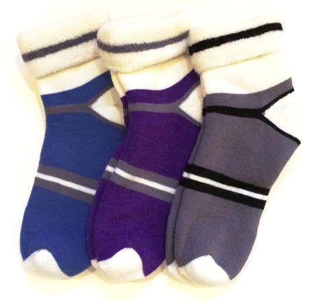 Snuggle Organic Wool Socks for Men & Women in Blue, Purple & Grey