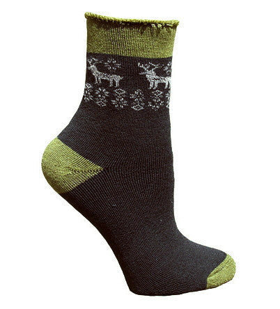 "Reindeer ""Snuggle"" Socks for Women & Men - Made with Organic Wool"