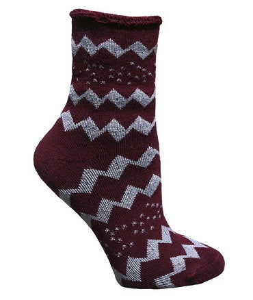Holiday Zig Zag Snuggle Organic Wool Socks | Sustainable Socks