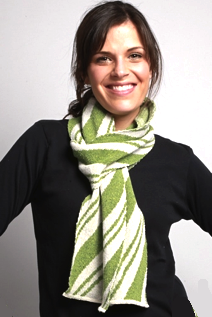 Spearmint striped holiday scarf from recycled cotton | Upland Road