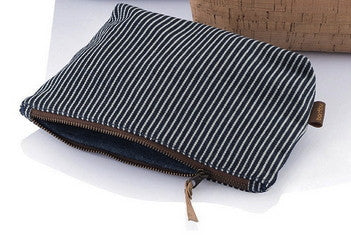 Striped Zip Travel Pouch, organic cotton