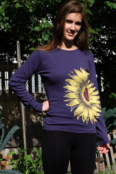 Organic Cotton Long-sleeved women's sunflower shirt, purple