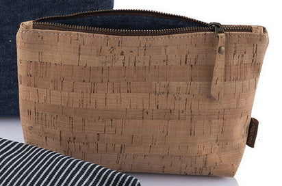 Sustainable cork zip travel pouches with Hemp interior