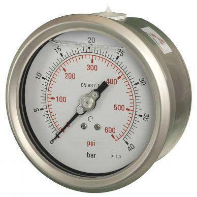100mm Back Entry Glycerine Filled Pressure Gauge - GNW Instrumentation