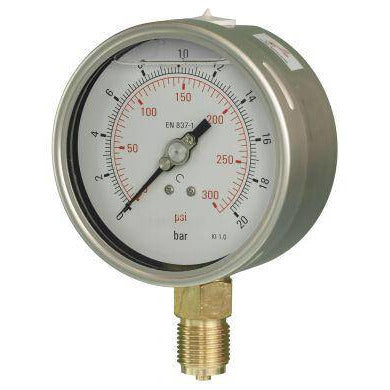 100mm Bottom Entry Glycerine Filled Pressure Gauge - GNW Instrumentation