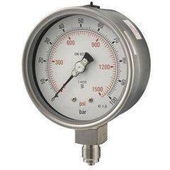 100mm Bottom Entry All Stainless Steel Pressure Gauge - GNW Instrumentation
