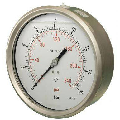 160mm Back Entry Glycerine Filled Pressure Gauge - GNW Instrumentation