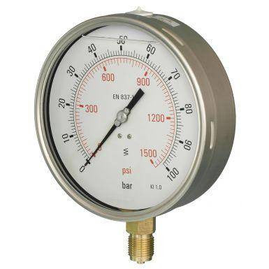 160mm Bottom Entry Glycerine Filled Pressure Gauge - GNW Instrumentation