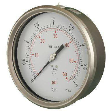 160mm Back Entry All Stainless Steel Pressure Gauge - GNW Instrumentation