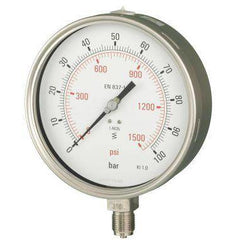 160mm Bottom Entry All Stainless Steel Pressure Gauge - GNW Instrumentation
