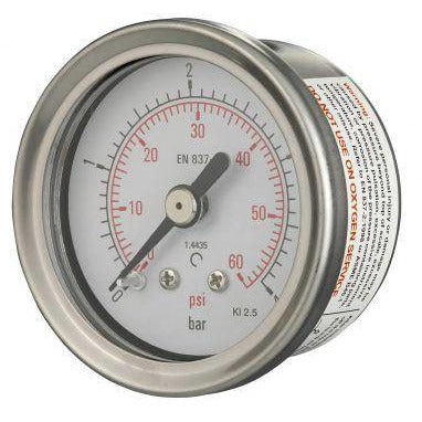 40mm Back Entry All Stainless Steel Pressure Gauge - GNW Instrumentation