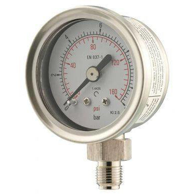 40mm Bottom Entry All Stainless Steel Pressure Gauge - GNW Instrumentation