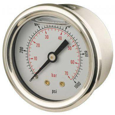 50mm Back Entry Glycerine Filled Pressure Gauge - GNW Instrumentation