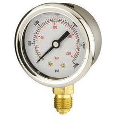 50mm Bottom Entry Glycerine Filled Pressure Gauge - GNW Instrumentation