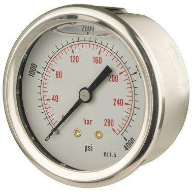 63mm Back Entry Glycerine Filled Pressure Gauge - GNW Instrumentation