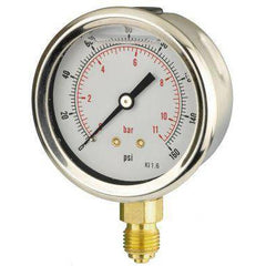63mm Bottom Entry Glycerine Filled Pressure Gauge - GNW Instrumentation