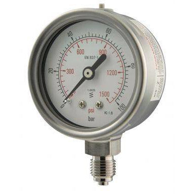 63mm Bottom Entry All Stainless Steel Pressure Gauge - GNW Instrumentation