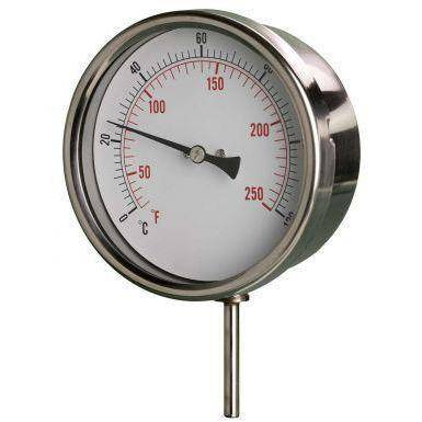 100mm Stainless Steel Case HVAC Stem Thermometers