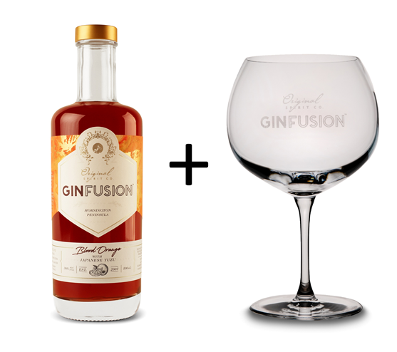 GINFUSION Blood Orange with Japanese Yuzu, 500ml 30% ABV & Gin Balloon Glass