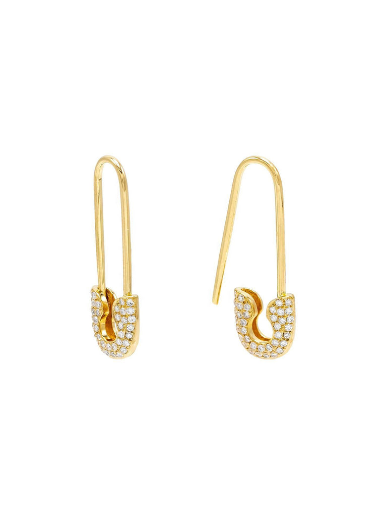 The Gold Dainty Drippy Safety Pin Earrings