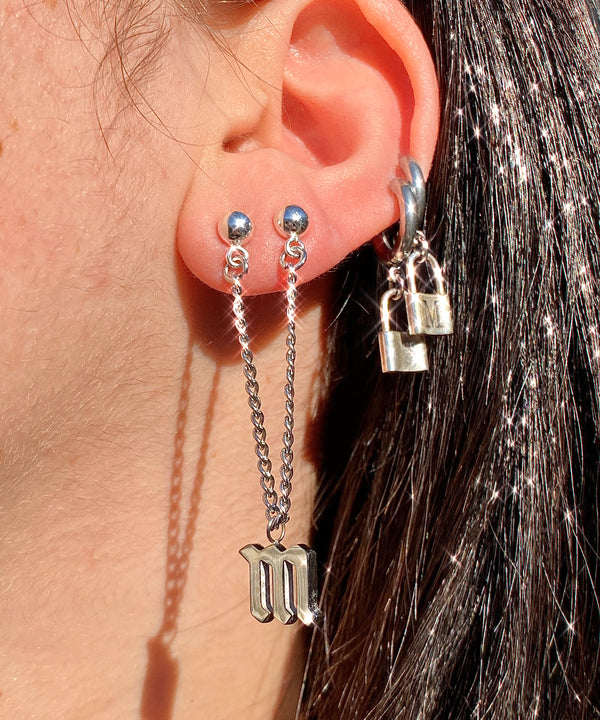 The Double Gothic Letter Earring