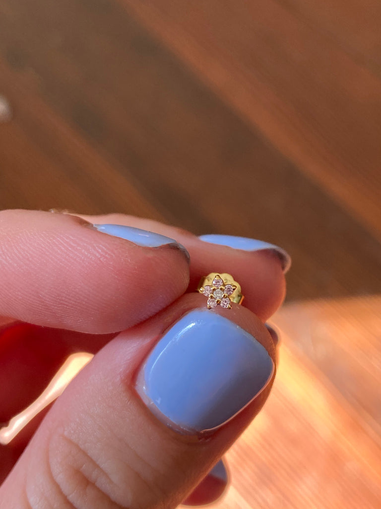 The Gold Baby Flower Studs-4 Colors