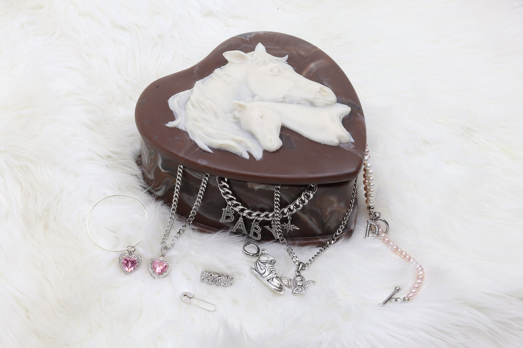 Vintage Horse Heart Shaped Jewelry Box