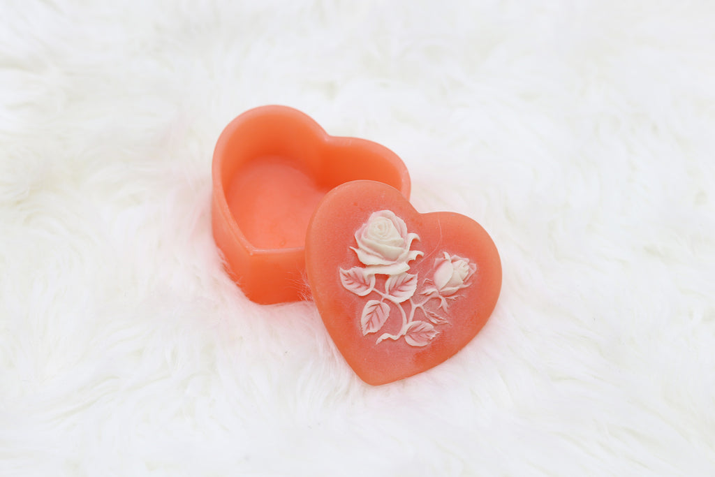 Vintage Tiny Heart Shaped Rose Jewelry Box