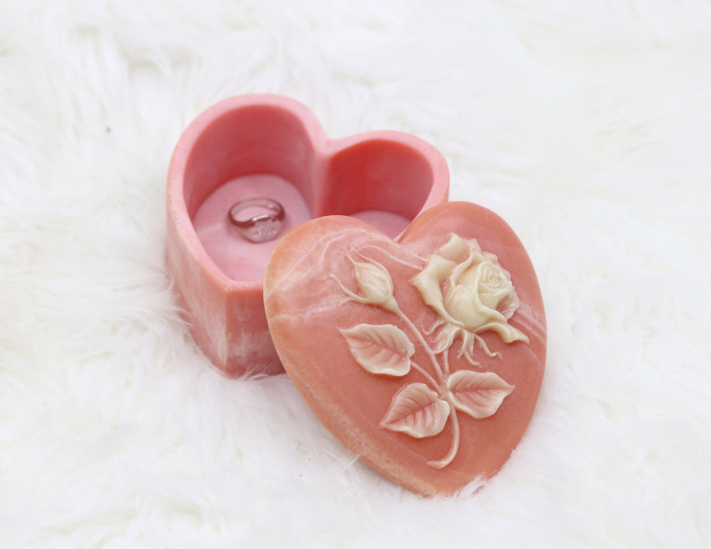 Vintage Heart Shaped Rose Jewelry Box