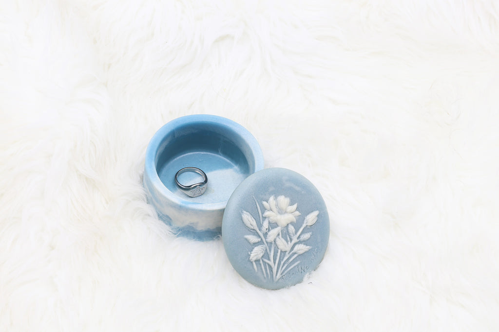 Vintage Tiny Blue Jewelry Box