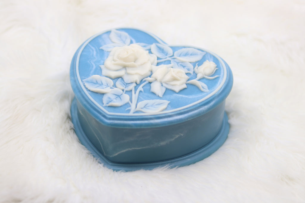 Vintage Blue Rose Heart Shaped Jewelry Box