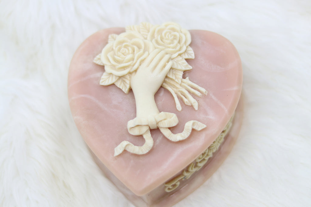 Vintage Heart Shaped Jewelry Box with Hand and Flowers Detail