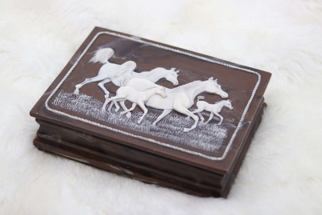 Vintage Family of Horses Jewelry Box