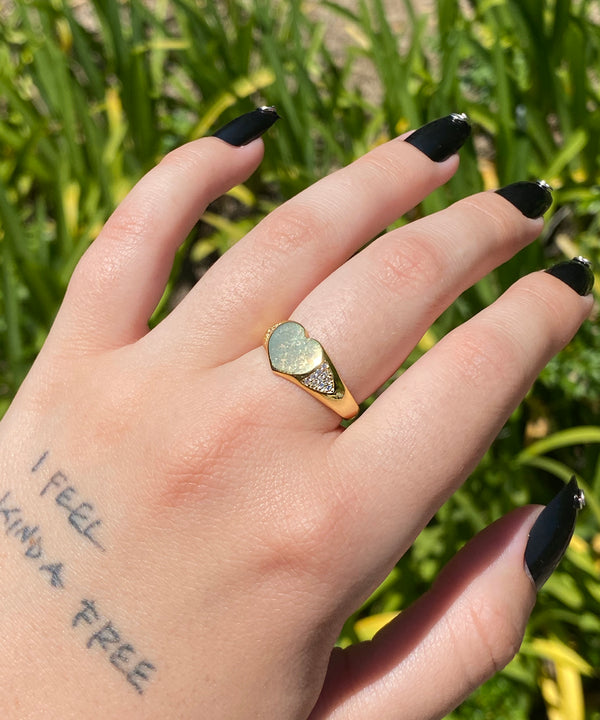 The Gold Drippy Heart Ring (Engravable)