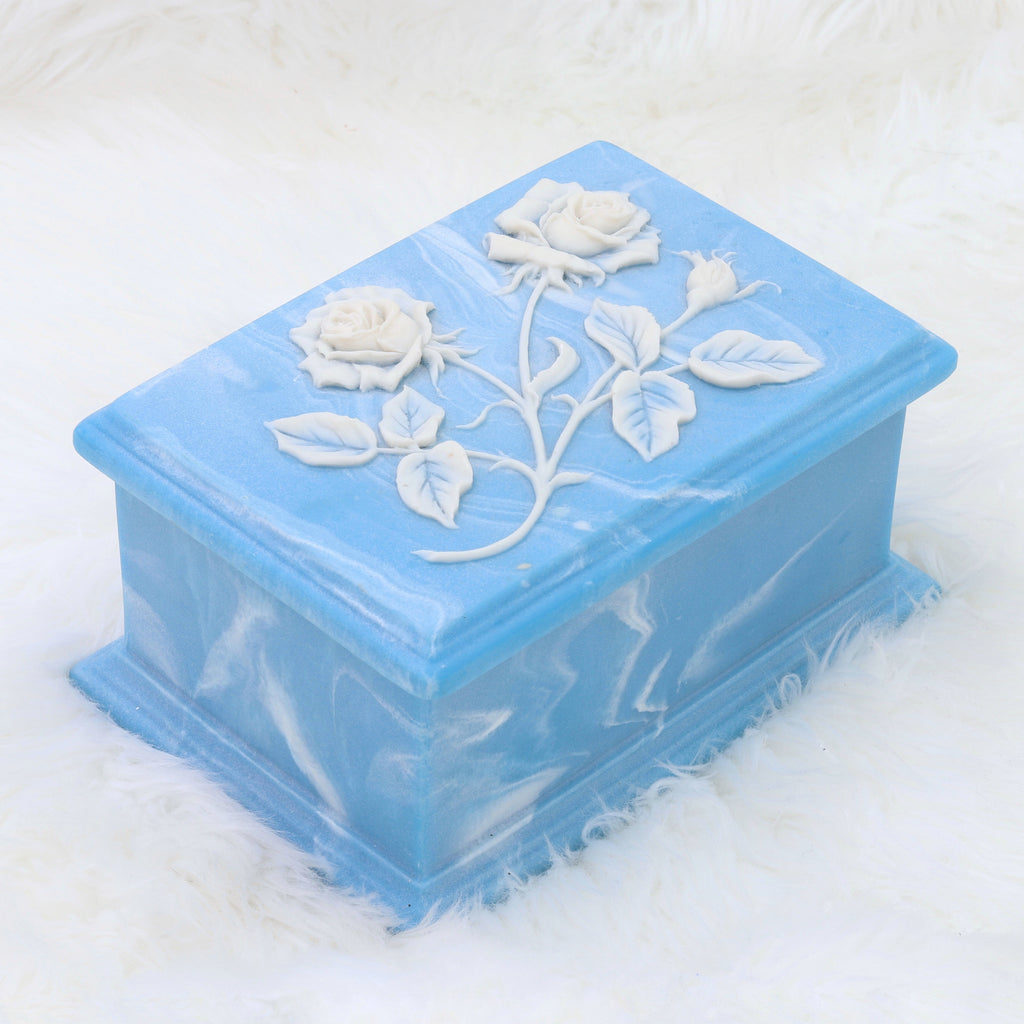 Vintage Blue Square Rose Jewelry Box