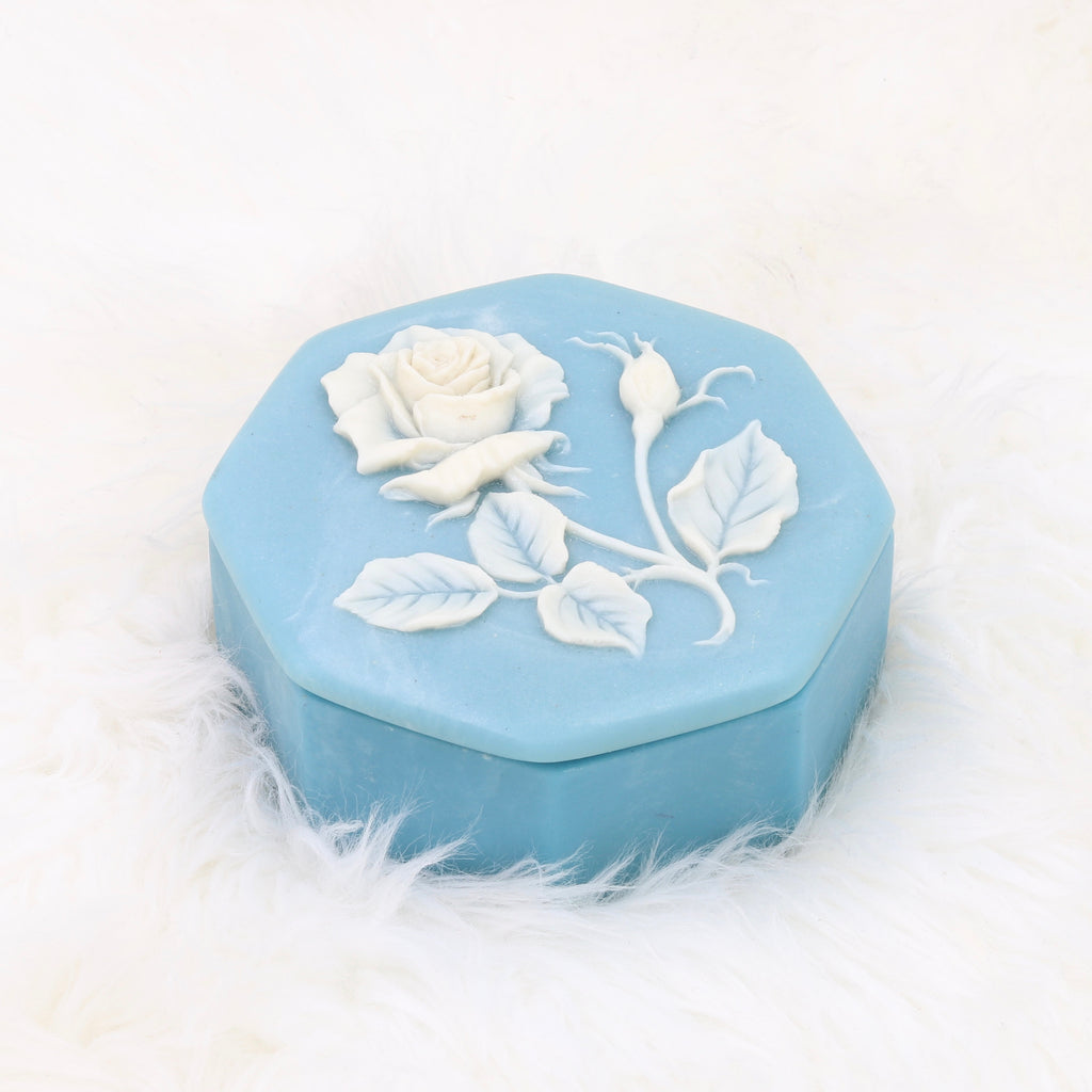 Vintage Baby Blue Rose Jewelry Box