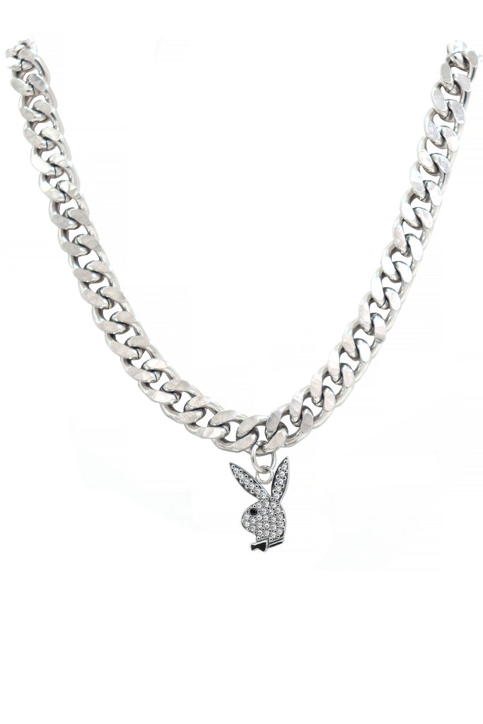 The Silver Playboy Rabbit Head Chain