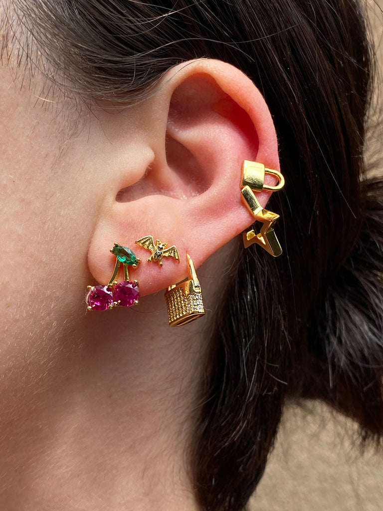 The Gold Crystal Cherry Earrings