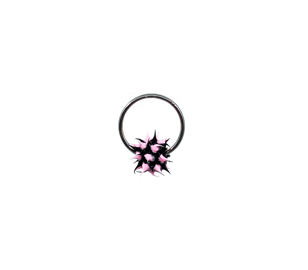 The Black & Pink Spike Hoop