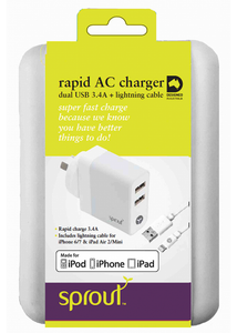 Sprout Dual USB AC Charger 3.4A (Lightning cable included)