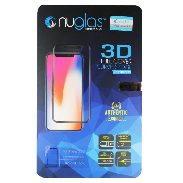 Nuglas Premium iPhone X Tempered Glass Screen Protector (3D Style Black)
