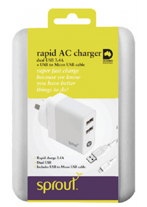 Sprout Dual USB AC Charger 3.4A (Micro USB cable included)