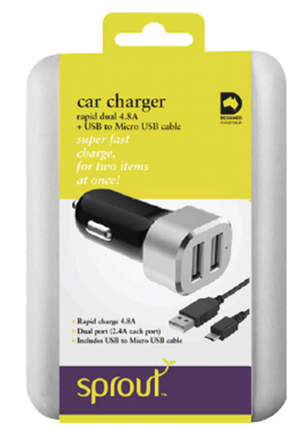 Sprout Dual USB Car Charger 4.8A (Micro USB cable included)