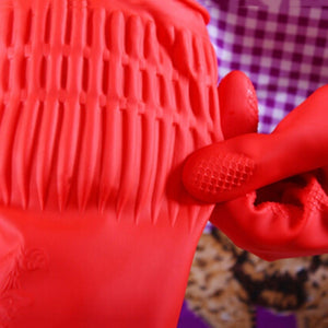 Extra-long dish gloves water-tight sleeves red, durable