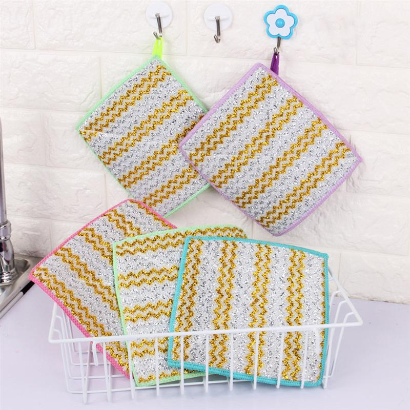 5-piece Bamboo Fiber Cleaning Cloth and Kitchen Towel Dish Cloth   (Assorted colors)