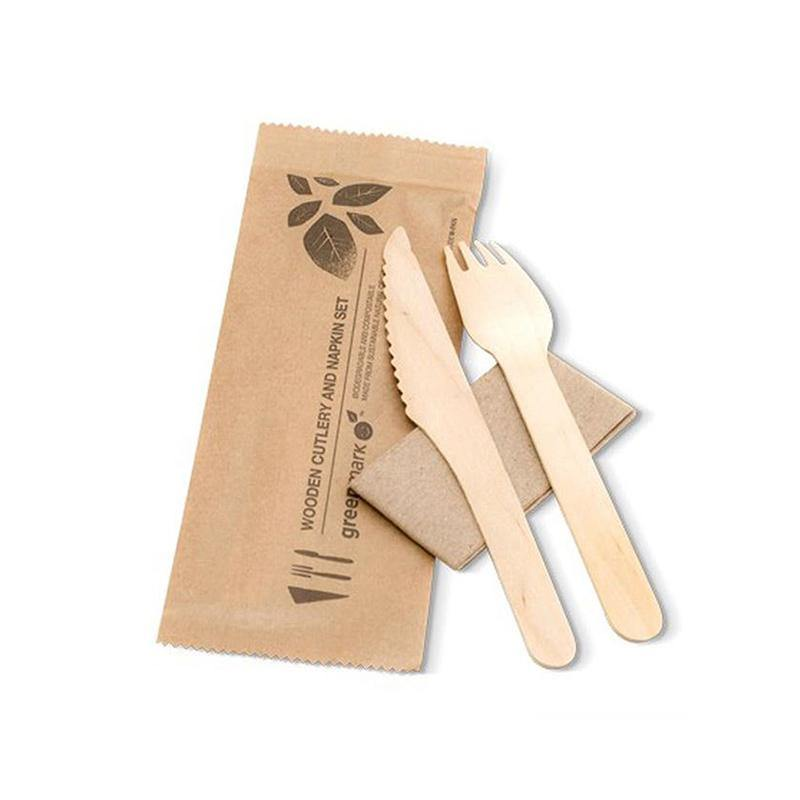 Cutlery Pack: Wooden Knife, Fork & Napkin